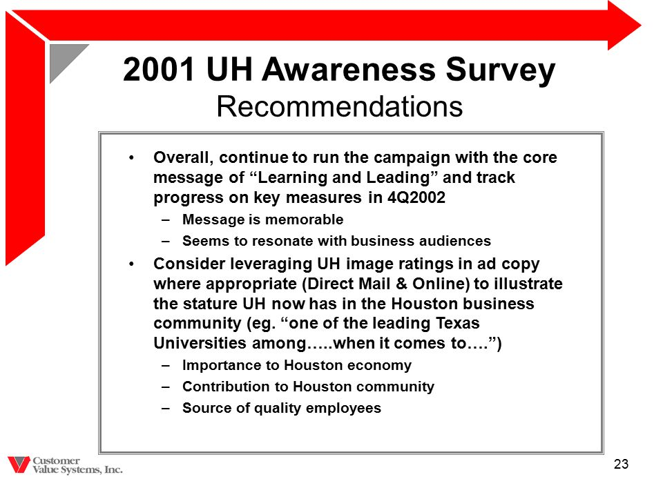 "23 2001 UH Awareness Survey Recommendations Overall, continue to run the campaign with the core message of ""Learning and Leading"" and track progress o"