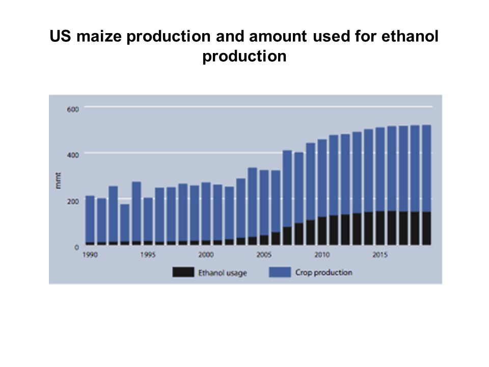 US maize production and amount used for ethanol production