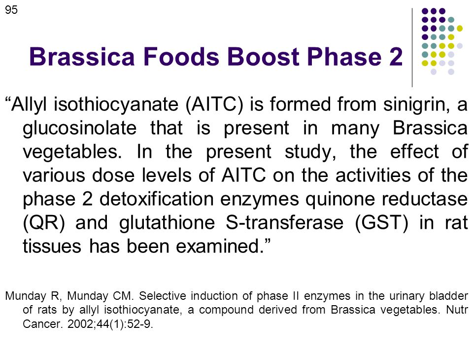Brassica Foods Boost Phase 2 Allyl isothiocyanate (AITC) is formed from sinigrin, a glucosinolate that is present in many Brassica vegetables.