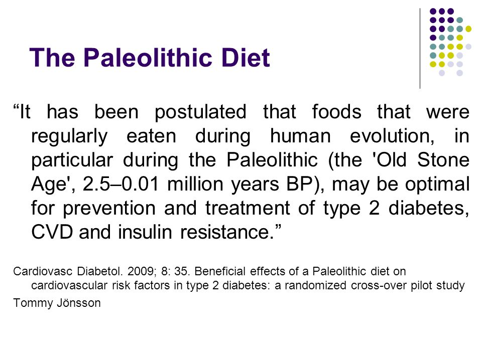 The Paleolithic Diet It has been postulated that foods that were regularly eaten during human evolution, in particular during the Paleolithic (the Old Stone Age , 2.5–0.01 million years BP), may be optimal for prevention and treatment of type 2 diabetes, CVD and insulin resistance. Cardiovasc Diabetol.