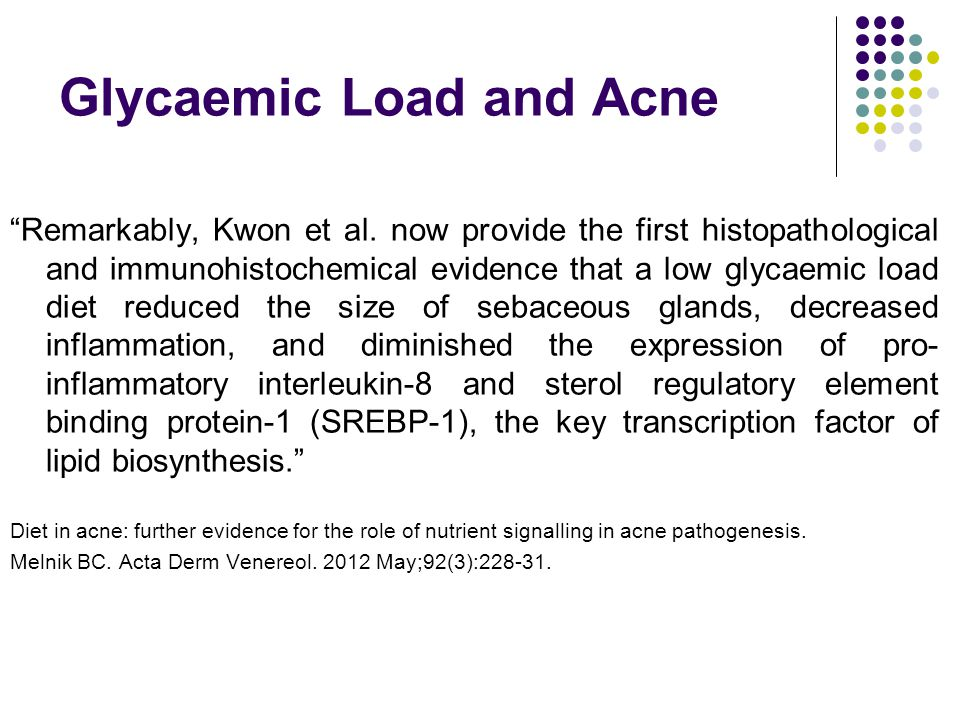 Glycaemic Load and Acne Remarkably, Kwon et al.