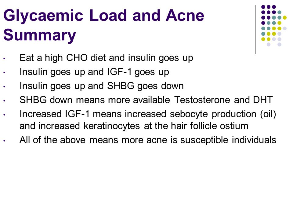 Glycaemic Load and Acne Summary Eat a high CHO diet and insulin goes up Insulin goes up and IGF-1 goes up Insulin goes up and SHBG goes down SHBG down means more available Testosterone and DHT Increased IGF-1 means increased sebocyte production (oil) and increased keratinocytes at the hair follicle ostium All of the above means more acne is susceptible individuals