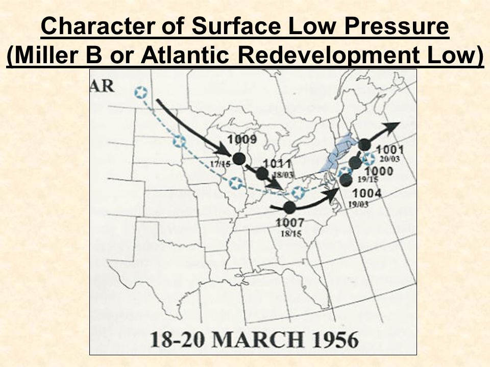 Character of Surface Low Pressure (Miller B or Atlantic Redevelopment Low)