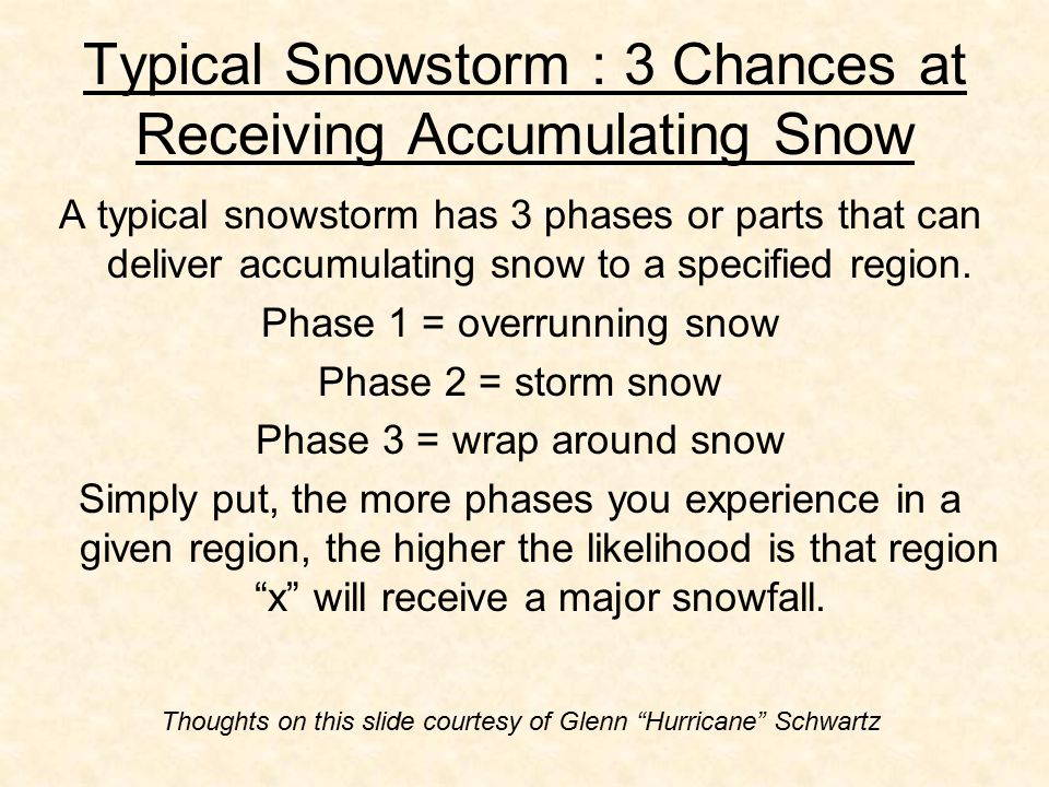 Typical Snowstorm : 3 Chances at Receiving Accumulating Snow A typical snowstorm has 3 phases or parts that can deliver accumulating snow to a specified region.