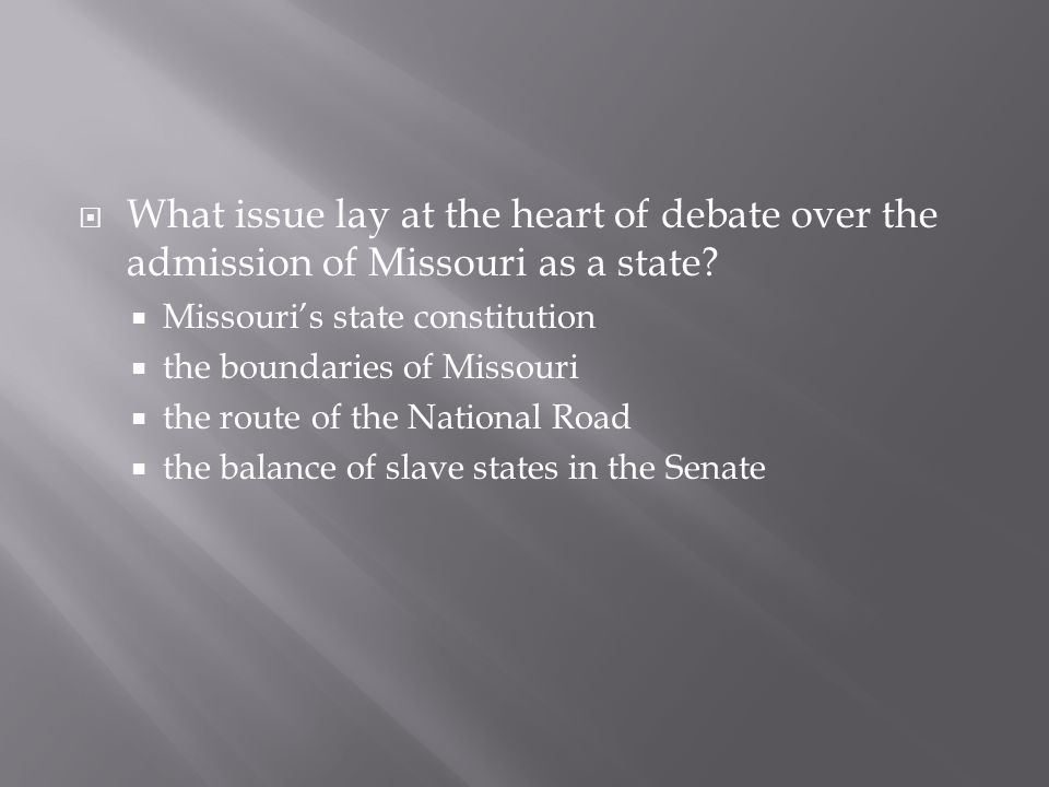  the balance of slave states in the Senate