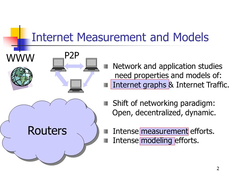 2 Network and application studies need properties and models of: Internet graphs & Internet Traffic.