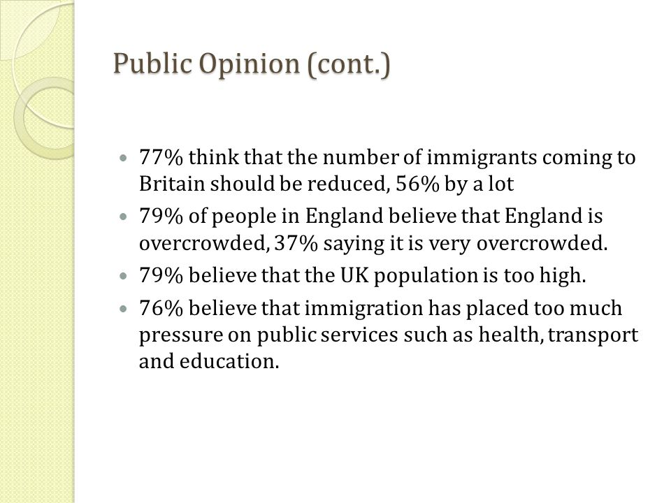 Public Opinion (cont.) 77% think that the number of immigrants coming to Britain should be reduced, 56% by a lot 79% of people in England believe that England is overcrowded, 37% saying it is very overcrowded.