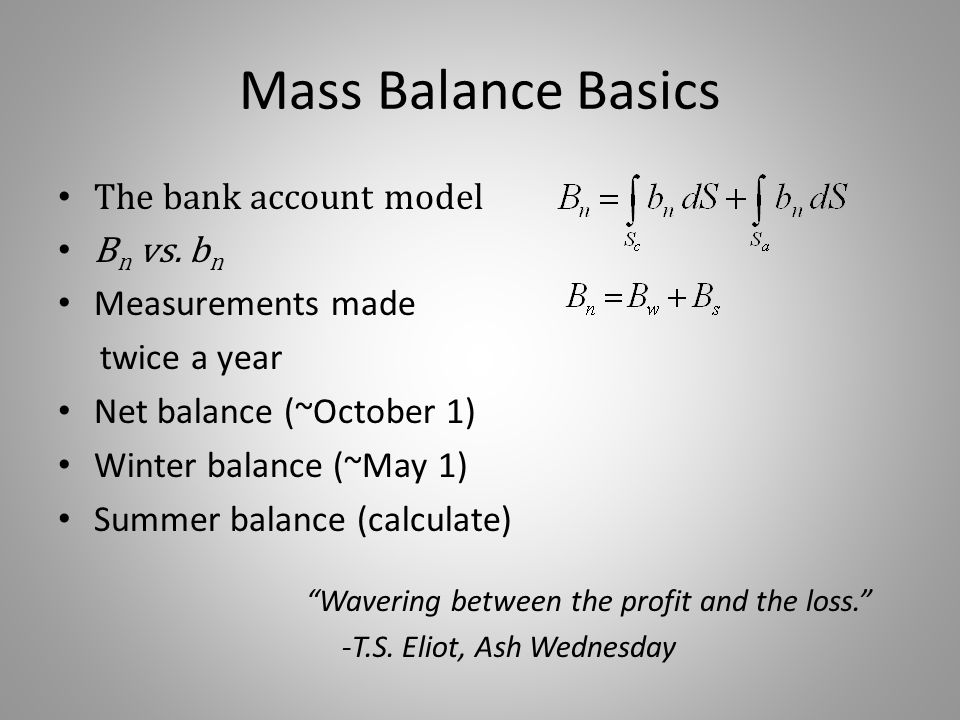 Mass Balance Basics Wavering between the profit and the loss. -T.S.