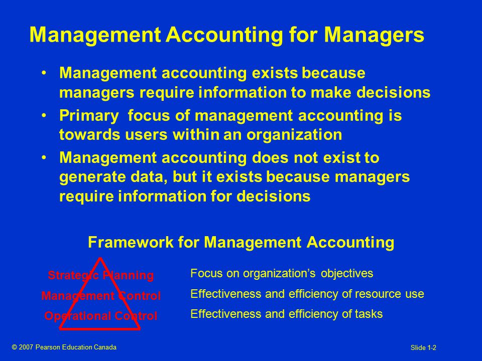 © 2007 Pearson Education Canada Slide 1-2 Management Accounting for Managers Management accounting exists because managers require information to make decisions Primary focus of management accounting is towards users within an organization Management accounting does not exist to generate data, but it exists because managers require information for decisions Framework for Management Accounting Strategic Planning Management Control Operational Control Focus on organization's objectives Effectiveness and efficiency of resource use Effectiveness and efficiency of tasks