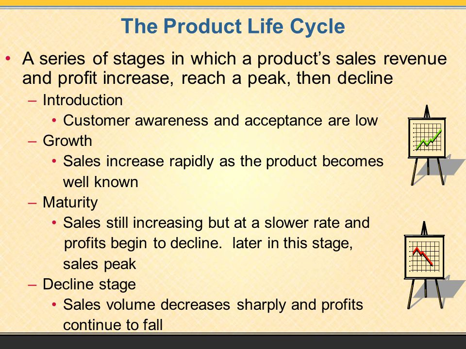 The Product Life Cycle A series of stages in which a product's sales revenue and profit increase, reach a peak, then decline –Introduction Customer aw