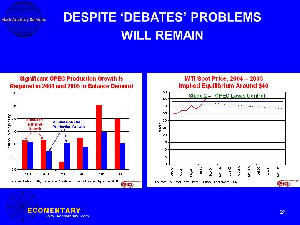 www. ecomentary. com 19 DESPITE 'DEBATES' PROBLEMS WILL REMAIN