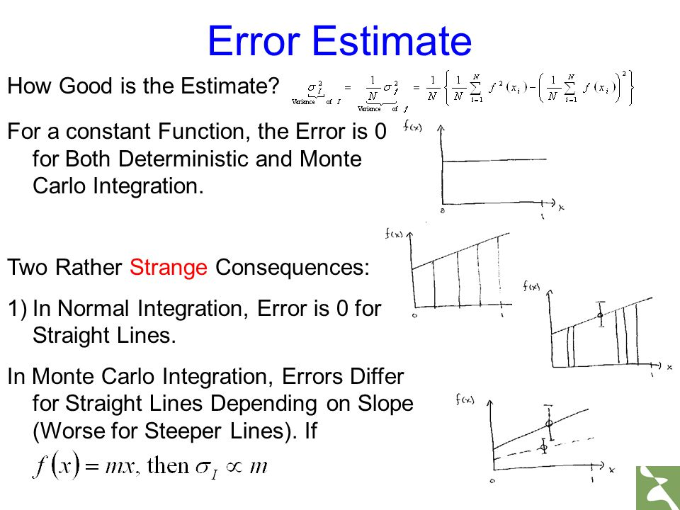 For a constant Function, the Error is 0 for Both Deterministic and Monte Carlo Integration. Two Rather Strange Consequences: 1)In Normal Integration,