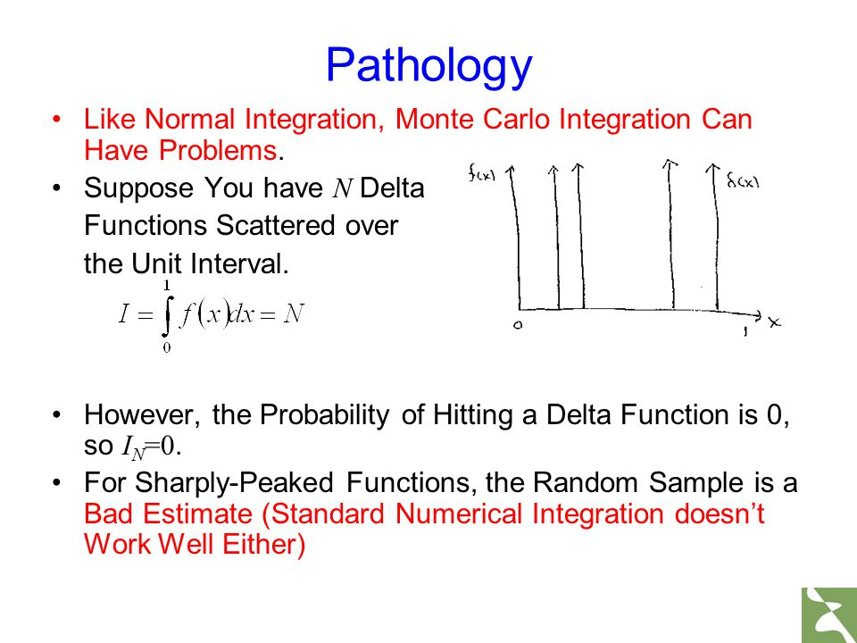 Pathology Like Normal Integration, Monte Carlo Integration Can Have Problems. Suppose You have N Delta Functions Scattered over the Unit Interval. How