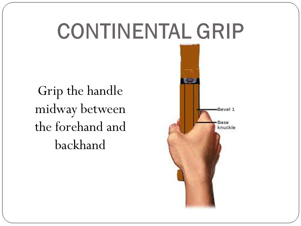 CONTINENTAL GRIP Grip the handle midway between the forehand and backhand