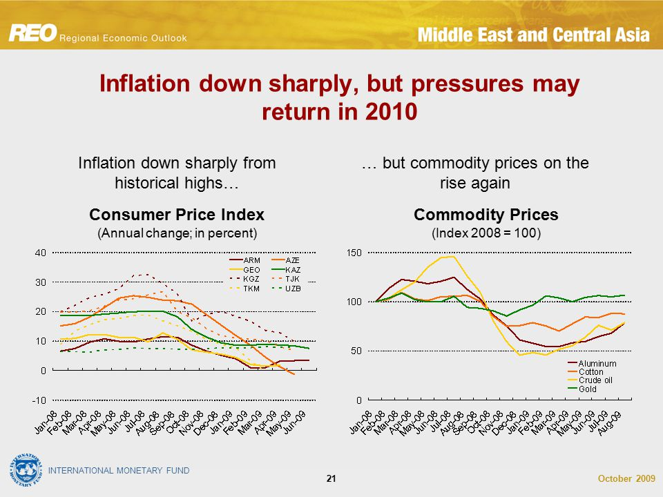 INTERNATIONAL MONETARY FUND October 200921 Inflation down sharply, but pressures may return in 2010 Inflation down sharply from historical highs… … bu