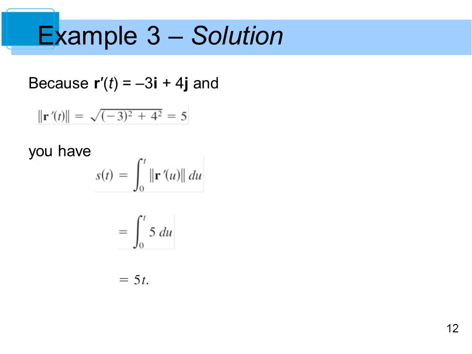 12 Because r′(t) = –3i + 4j and you have Example 3 – Solution