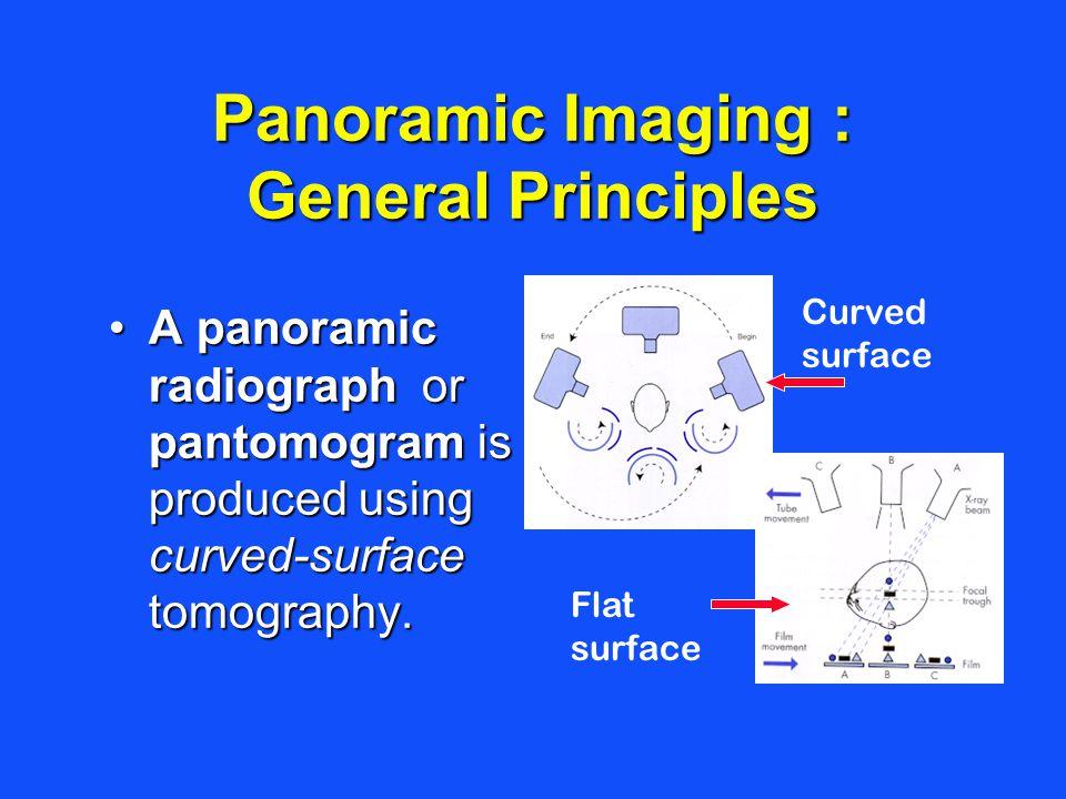 Panoramic Imaging : General Principles A panoramic radiograph or pantomogram is produced using curved-surface tomography.A panoramic radiograph or pan