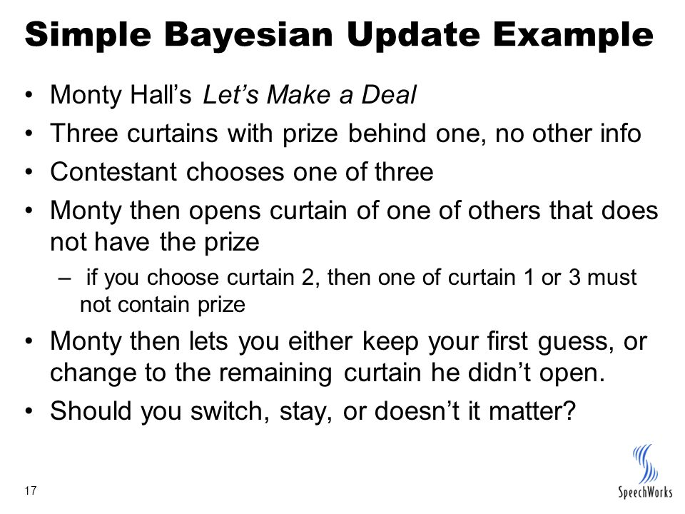 17 Simple Bayesian Update Example Monty Hall's Let's Make a Deal Three curtains with prize behind one, no other info Contestant chooses one of three M