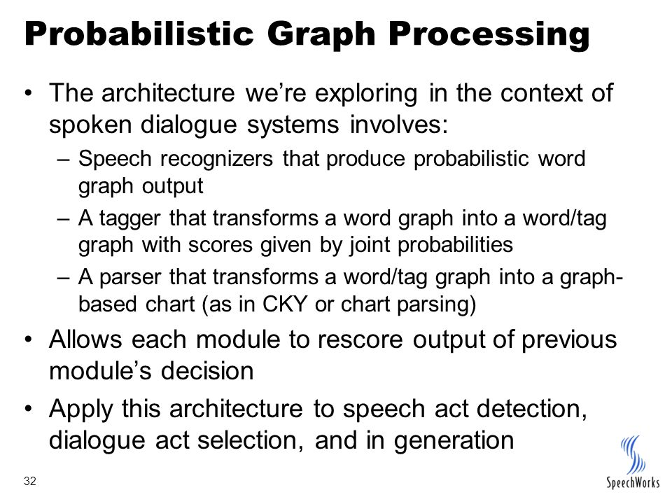 32 Probabilistic Graph Processing The architecture we're exploring in the context of spoken dialogue systems involves: –Speech recognizers that produc