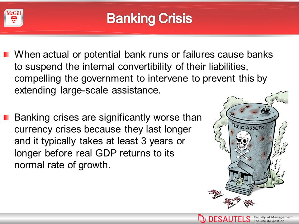 When actual or potential bank runs or failures cause banks to suspend the internal convertibility of their liabilities, compelling the government to intervene to prevent this by extending large-scale assistance.
