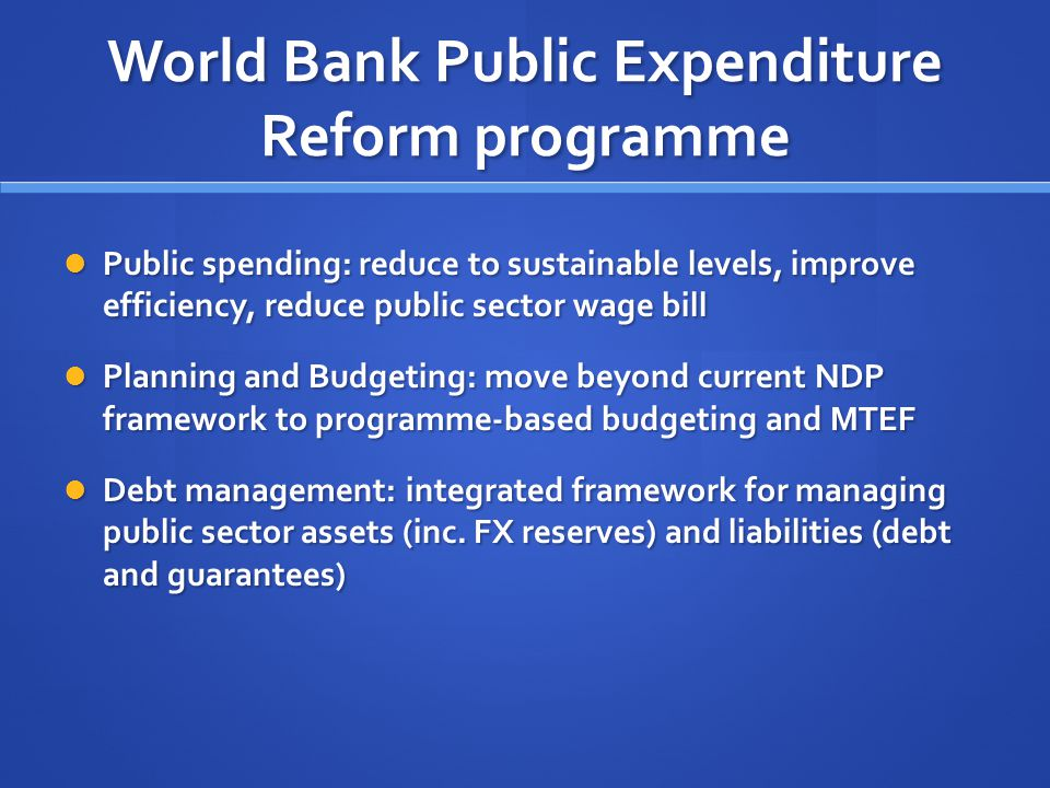 World Bank Public Expenditure Reform programme Public spending: reduce to sustainable levels, improve efficiency, reduce public sector wage bill Public spending: reduce to sustainable levels, improve efficiency, reduce public sector wage bill Planning and Budgeting: move beyond current NDP framework to programme-based budgeting and MTEF Planning and Budgeting: move beyond current NDP framework to programme-based budgeting and MTEF Debt management: integrated framework for managing public sector assets (inc.