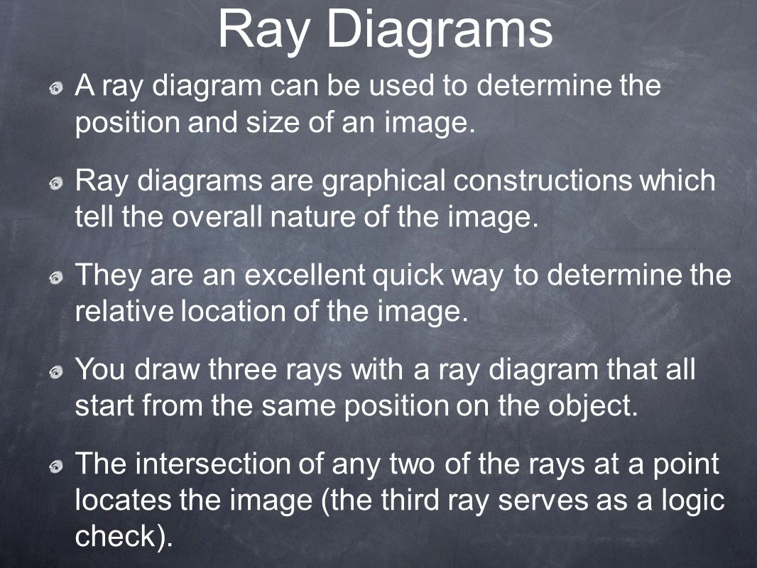 Ray Diagrams A ray diagram can be used to determine the position and size of an image.