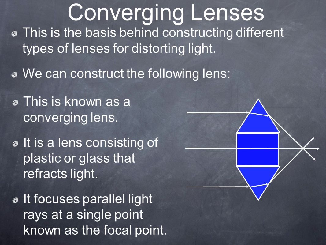 Converging Lenses This is the basis behind constructing different types of lenses for distorting light.