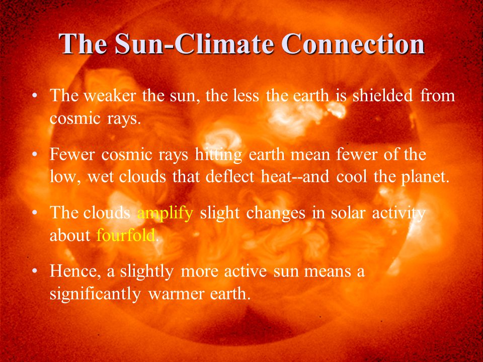 The Sun-Climate Connection The weaker the sun, the less the earth is shielded from cosmic rays.