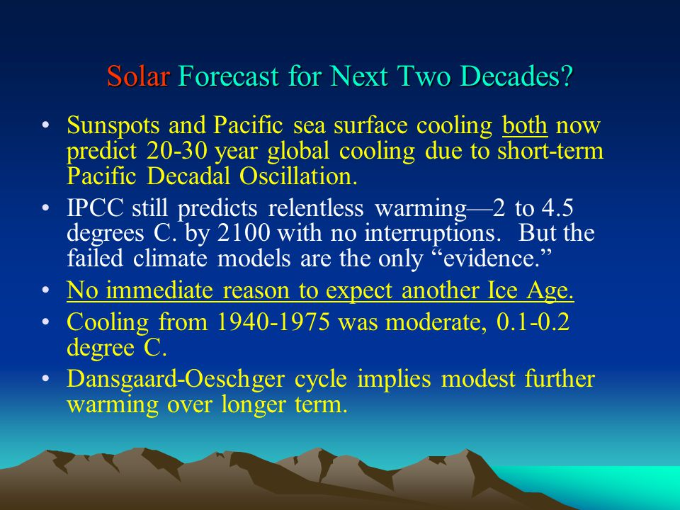 Solar Forecast for Next Two Decades.