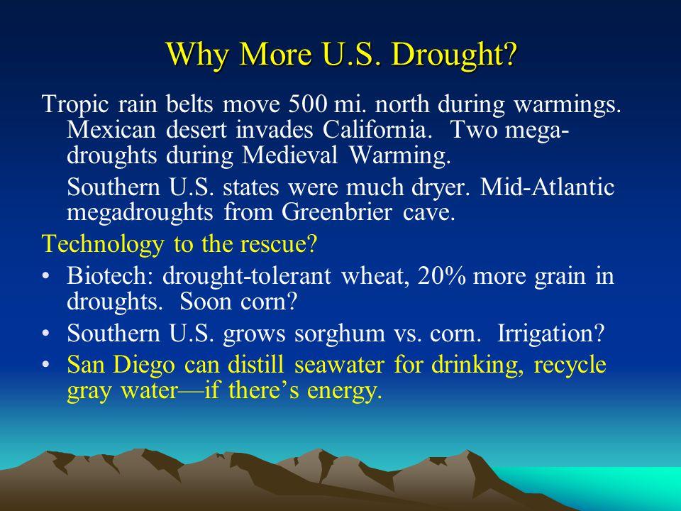 Why More U.S. Drought. Tropic rain belts move 500 mi.