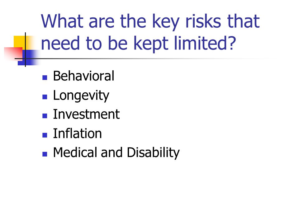 What are the key risks that need to be kept limited? Behavioral Longevity Investment Inflation Medical and Disability