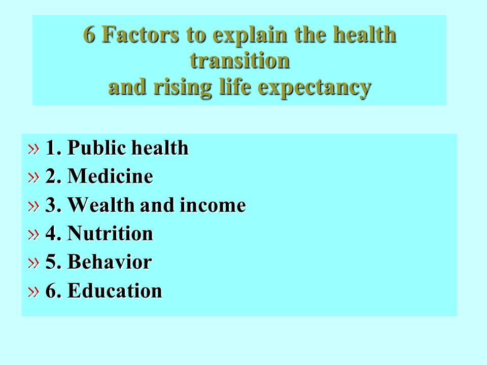 6 Factors to explain the health transition and rising life expectancy » 1. Public health » 2. Medicine » 3. Wealth and income » 4. Nutrition » 5. Beha