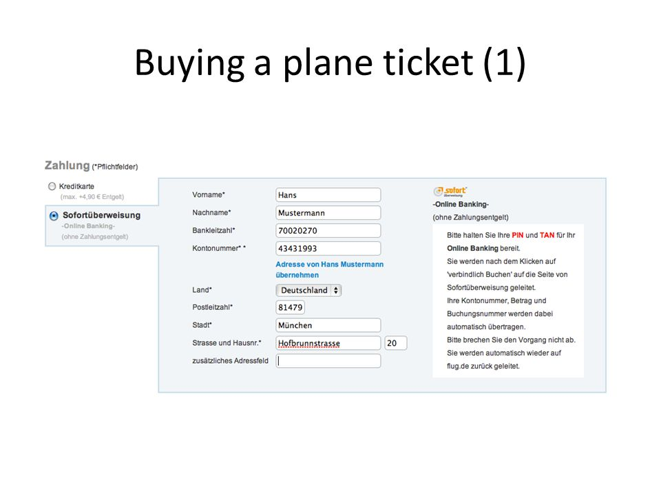 Buying a plane ticket (1)