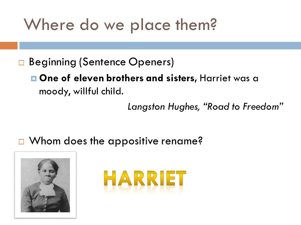 """Where do we place them?  Beginning (Sentence Openers)  One of eleven brothers and sisters, Harriet was a moody, willful child. Langston Hughes, """"Roa"""