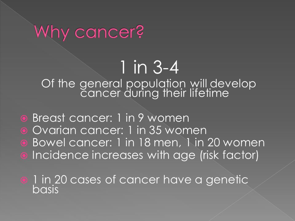 1 in 3-4 Of the general population will develop cancer during their lifetime  Breast cancer: 1 in 9 women  Ovarian cancer: 1 in 35 women  Bowel cancer: 1 in 18 men, 1 in 20 women  Incidence increases with age (risk factor)  1 in 20 cases of cancer have a genetic basis