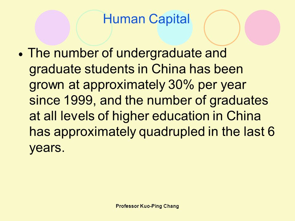 Professor Kuo-Ping Chang Human Capital ● The number of undergraduate and graduate students in China has been grown at approximately 30% per year since