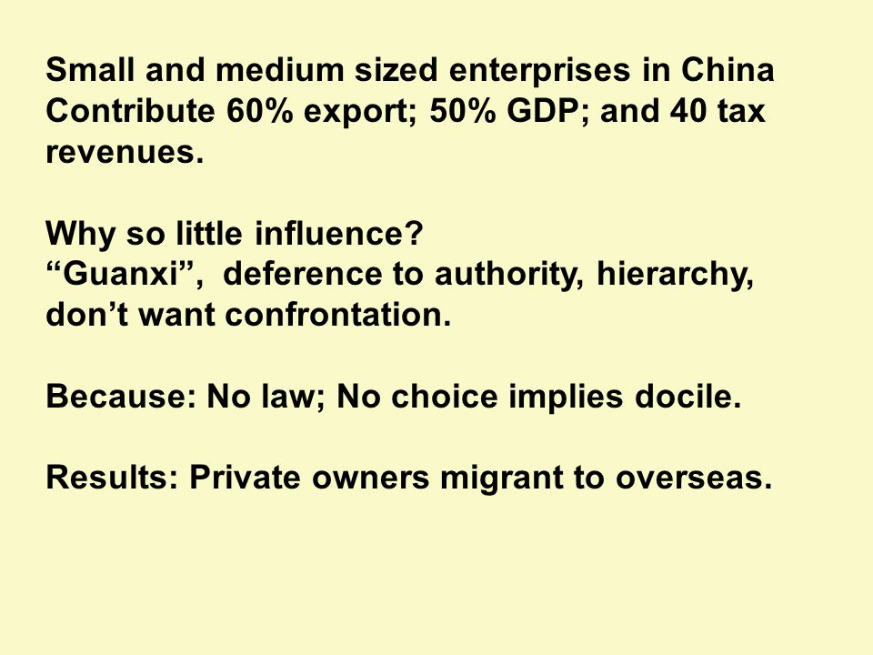 Small and medium sized enterprises in China Contribute 60% export; 50% GDP; and 40 tax revenues.