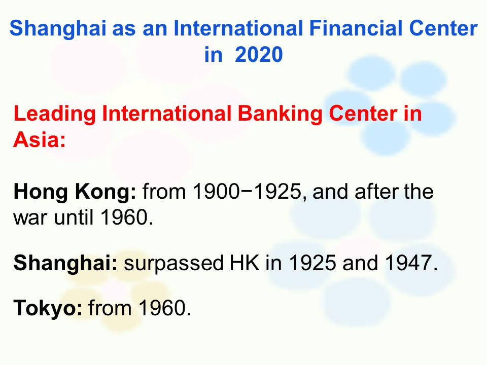 Leading International Banking Center in Asia: Hong Kong: from 1900−1925, and after the war until 1960.