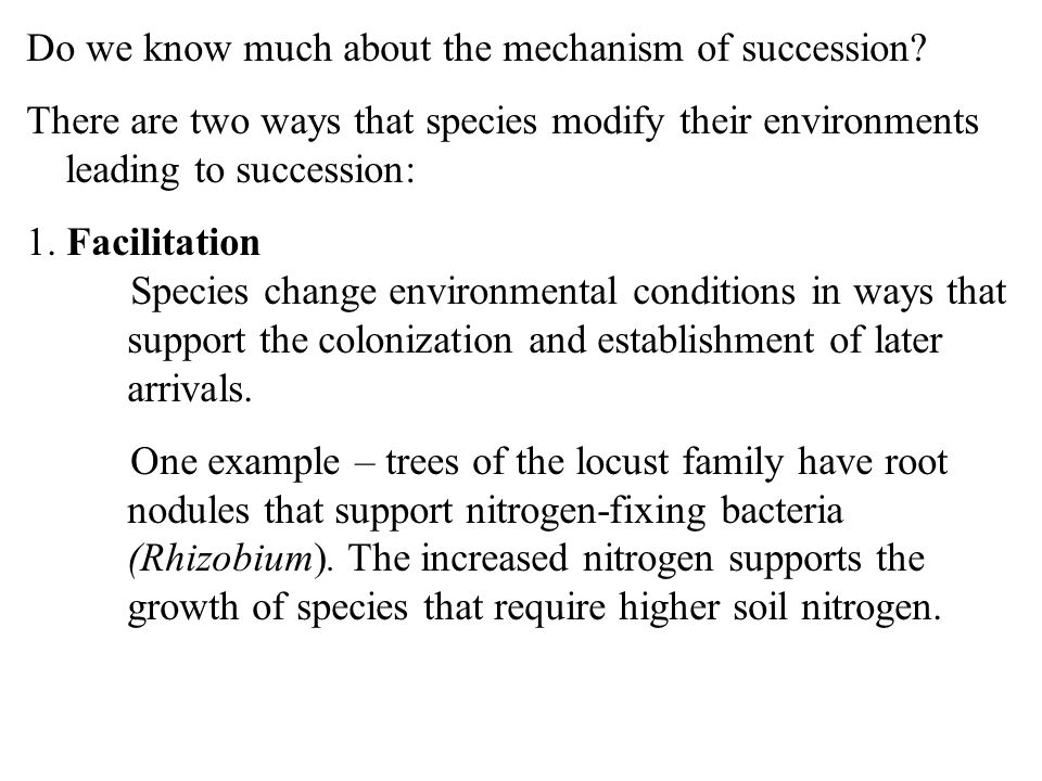Do we know much about the mechanism of succession.