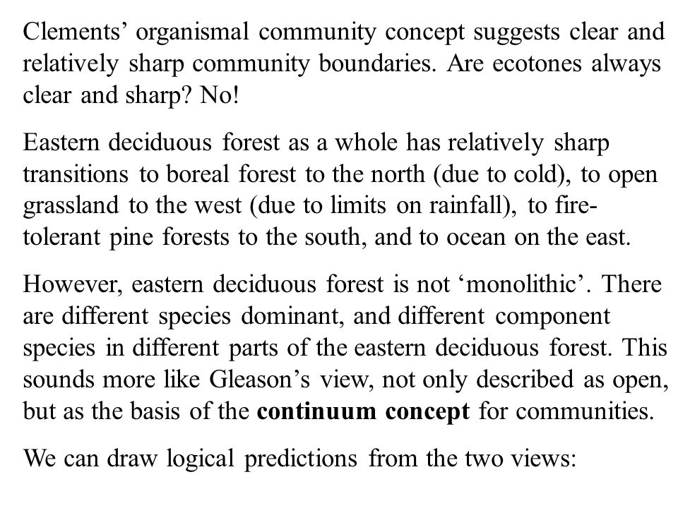 To introduce ideas about diversity (anticipating the next lecture), it is important to recognize the way in which interactions among species can influence/determine the number of species in a community.