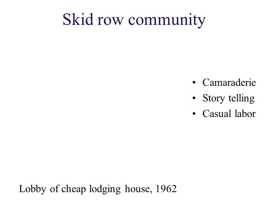 Skid row community Camaraderie Story telling Casual labor Lobby of cheap lodging house, 1962