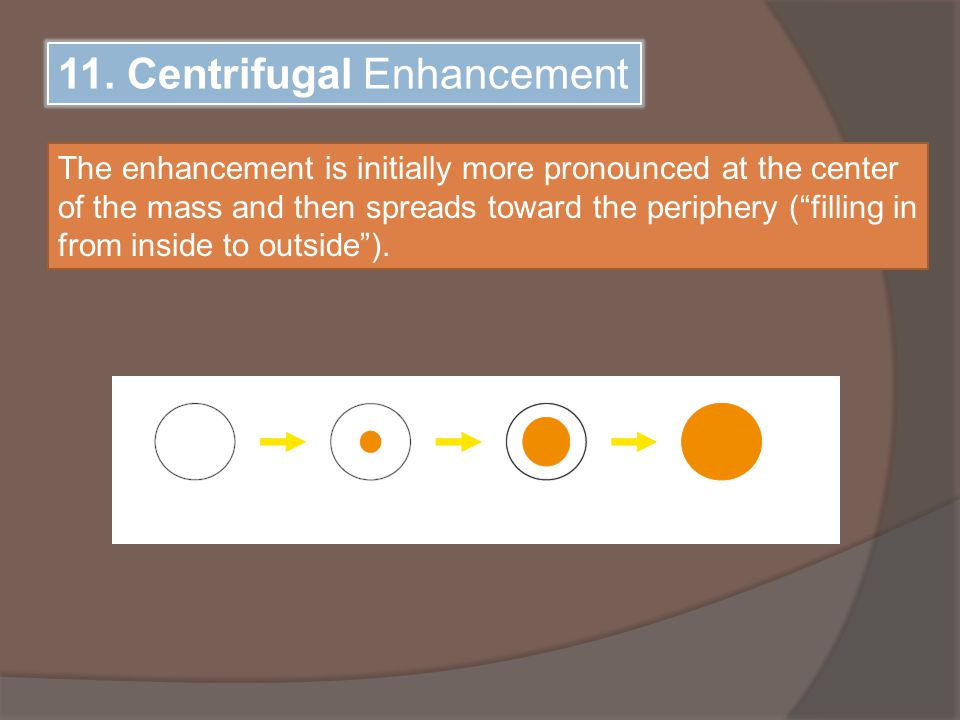 """11. Centrifugal Enhancement The enhancement is initially more pronounced at the center of the mass and then spreads toward the periphery (""""filling in"""
