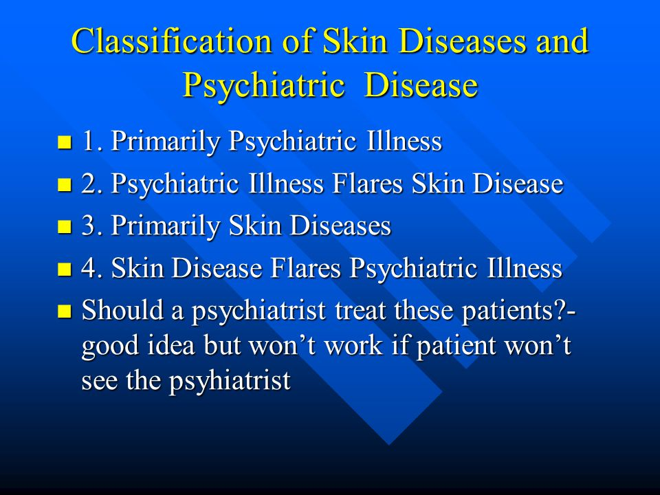 Classification of Skin Diseases and Psychiatric Disease 1.