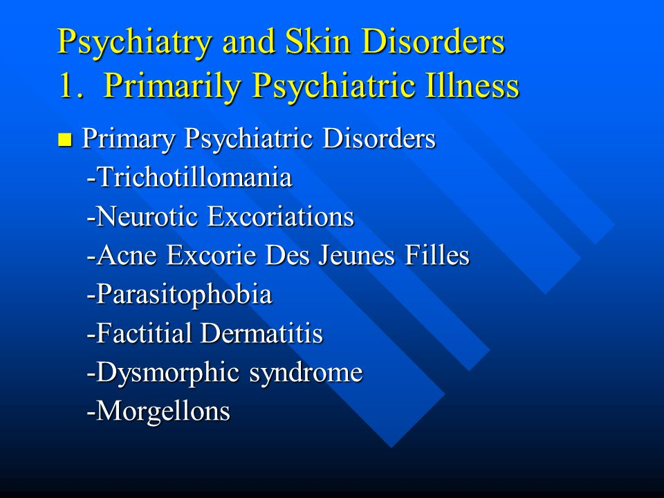 Psychiatry and Skin Disorders 1.