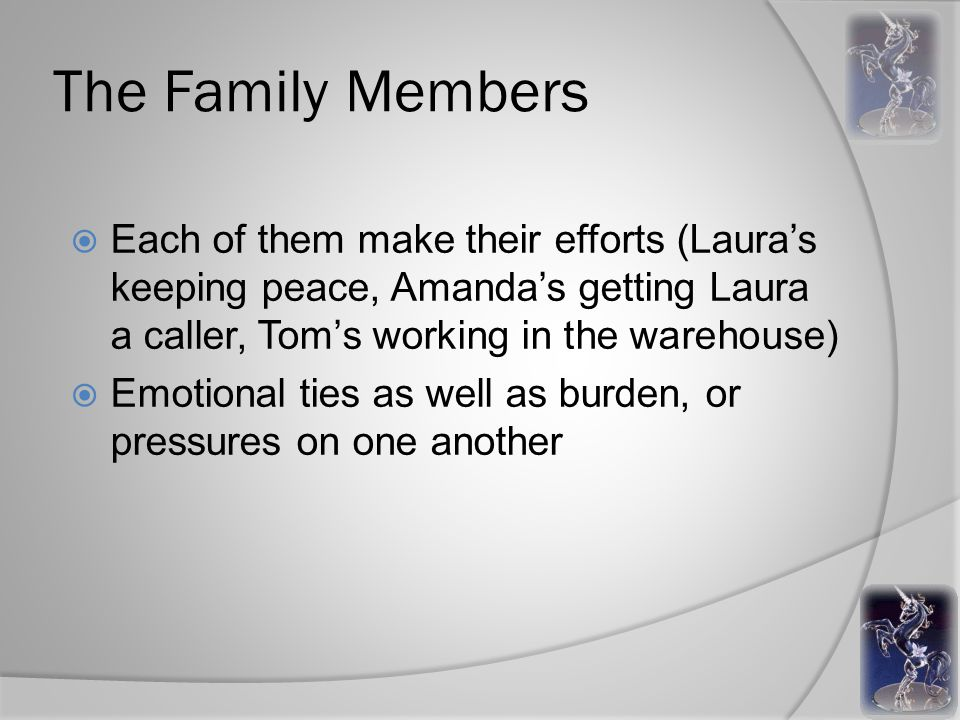 The Family Members  Each of them make their efforts (Laura's keeping peace, Amanda's getting Laura a caller, Tom's working in the warehouse)  Emotional ties as well as burden, or pressures on one another