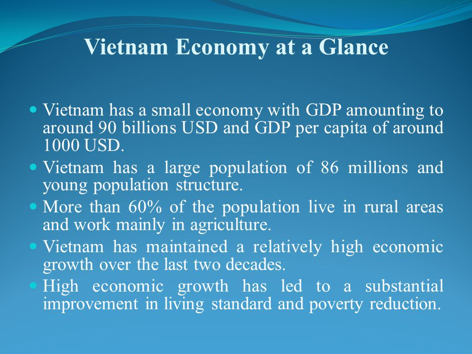Vietnam Economy at a Glance Vietnam has a small economy with GDP amounting to around 90 billions USD and GDP per capita of around 1000 USD.