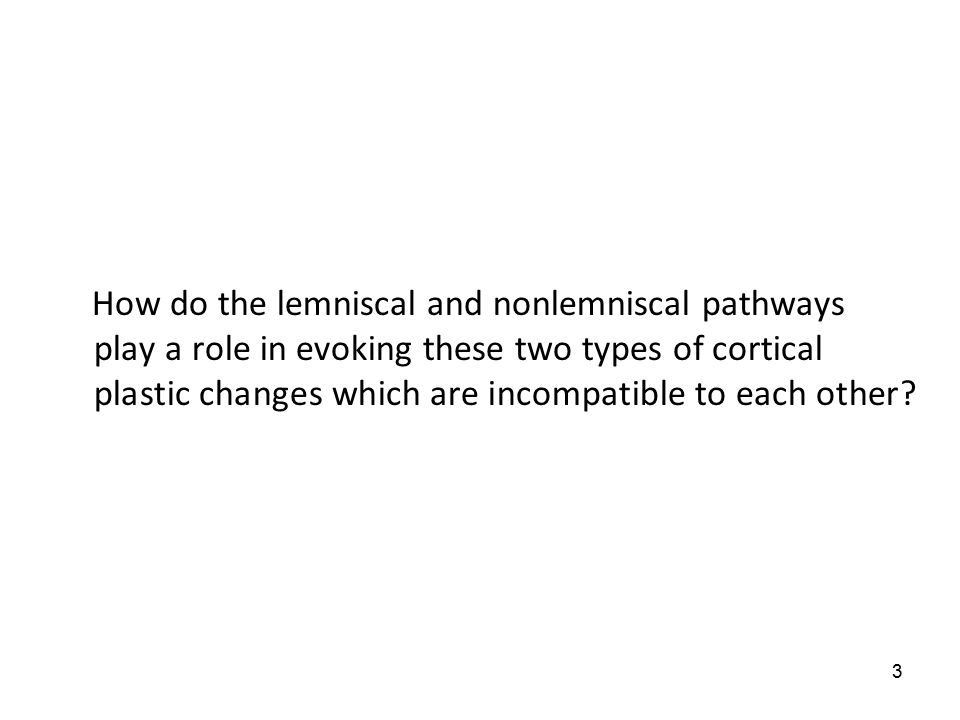 3 How do the lemniscal and nonlemniscal pathways play a role in evoking these two types of cortical plastic changes which are incompatible to each other