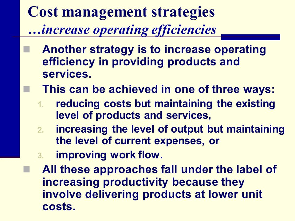 Cost management strategies …increase operating efficiencies Another strategy is to increase operating efficiency in providing products and services. T