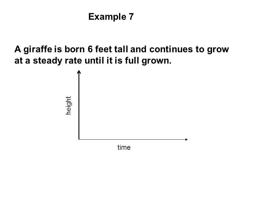 Example 7 A giraffe is born 6 feet tall and continues to grow at a steady rate until it is full grown. height time