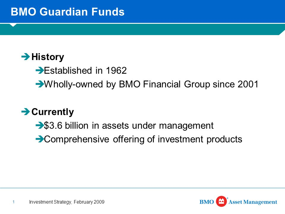 Investment Strategy, February 2009 1 BMO Guardian Funds  History  Established in 1962  Wholly-owned by BMO Financial Group since 2001  Currently  $3.6 billion in assets under management  Comprehensive offering of investment products